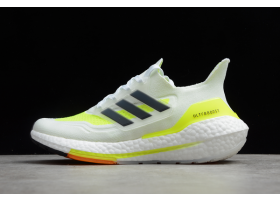 adidas Ultra Boost 2021 White Volt Navy FY0377 For Sale
