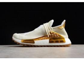 2018 Pharrell x adidas NMD Human Race Happy China Exclusive Metallic Gold Footwear White