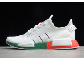 2020 Latest adidas NMD R1 V2 White Green Red FY1160 For Sale