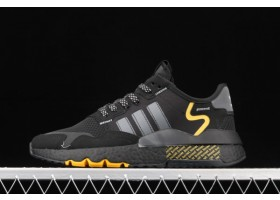 2021 adidas Nite Jogger Core Black Grey Four Yellow FV6571 For Sale