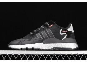 2021 adidas Nite Jogger Core Black Shock Red Silver Metallic FV4137 For Sale