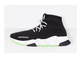 Balenciaga Speed Trainer lace-ups black white green